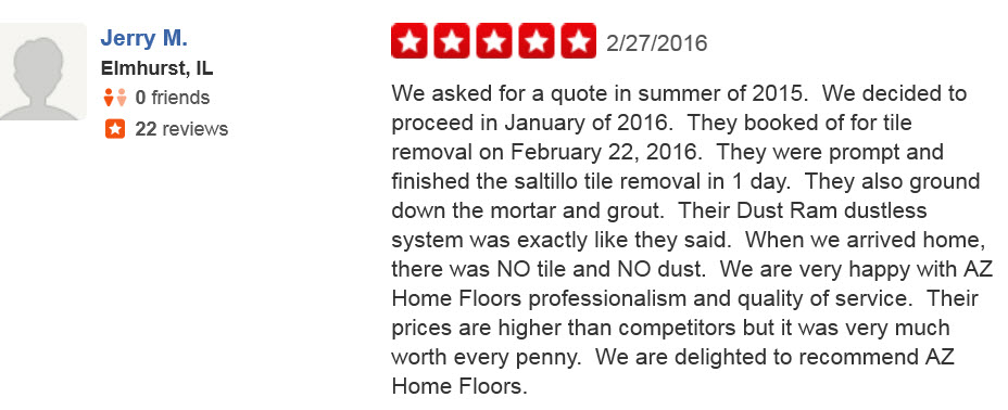Yelp-Arizona Home Floors Review