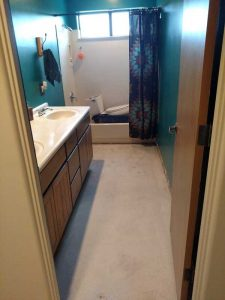 bathroom tile removal after