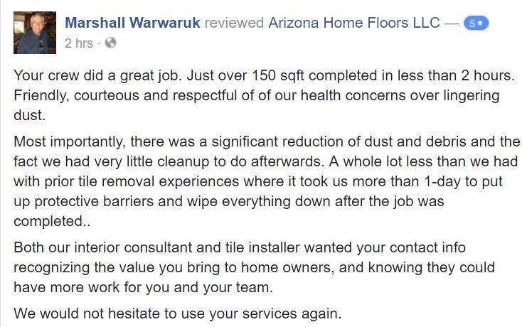 Scottsdale Tile Removal Dustless – Porcelain Job