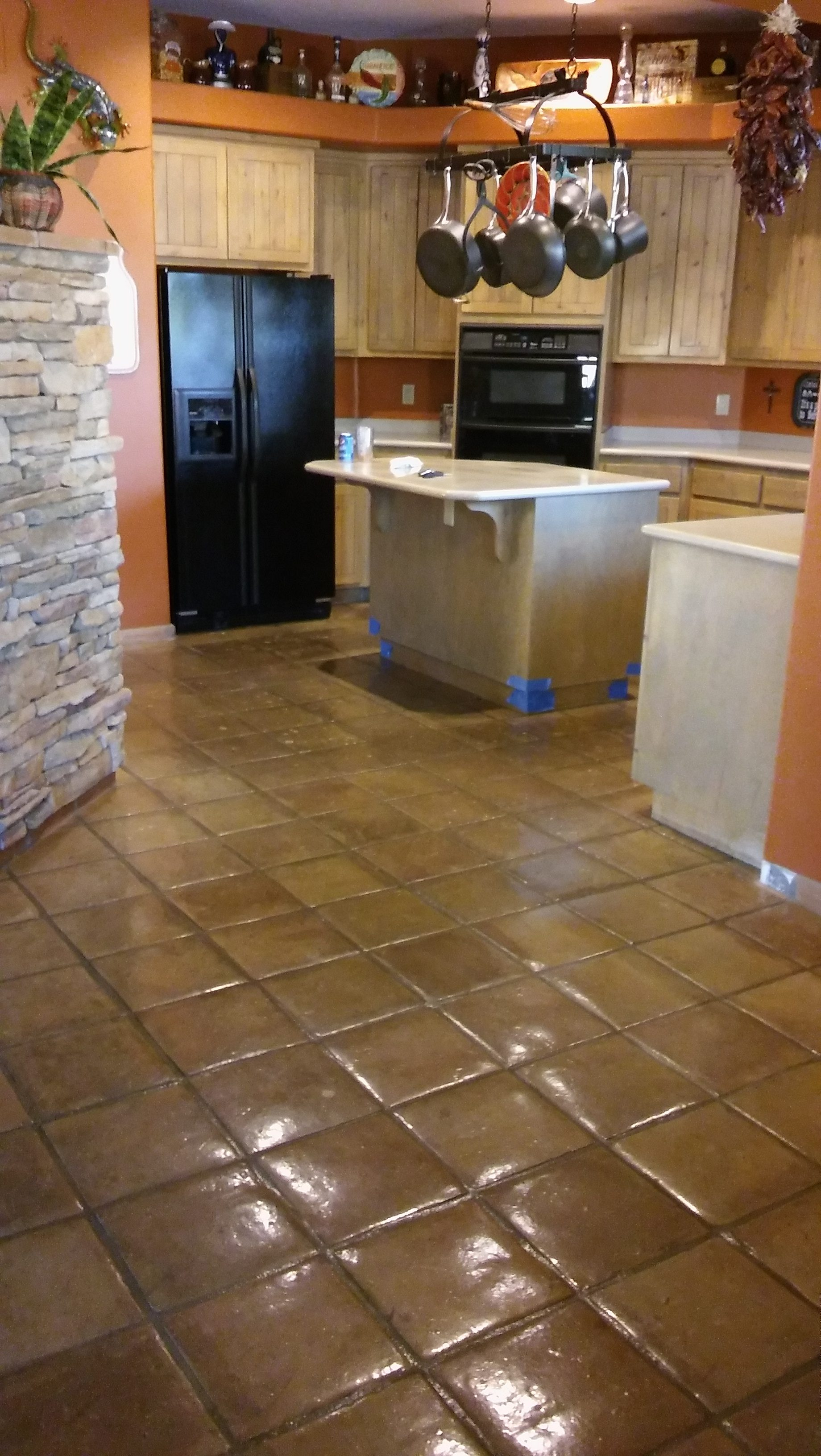 Kitchens With Saltillo Tile Floors Before And After Saltillo Tile Removal In Phoenix Az